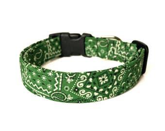 Green Dog Collar, Bandana Print Dog Collar, Designer Dog Accessories, Pet Accessories, Adjustable Collar, Boy Dog Collar, Plastic or Metal