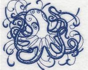 one Embroidered bath towel -inky octopus - range of colors