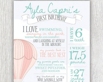 Birthday facts poster - Hot air balloon party - Clouds - First birthday - Birthday stats - Favorite things poster - First year poster