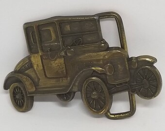 Vintage Solid Brass 1960' Old Car collection Belt Buckle