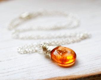 Tangerine Orange Necklace,  Polka Dot Bead Wire Wrap Briolette, Casual Everyday Jewelry, Nectarine, Citrus