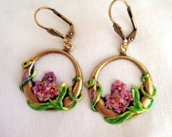 art nouveau earrings earrings art deco bouquet print patina painted and varnished