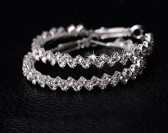Hoop earrings with Rhinestones