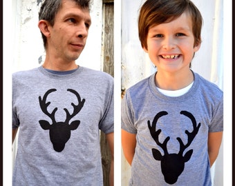 TWO SHIRTS for Fathers Day Pick 2 T SALE  teepee wild arrow deer buck antler men outfit kid boy dad father's matching set son daughter baby