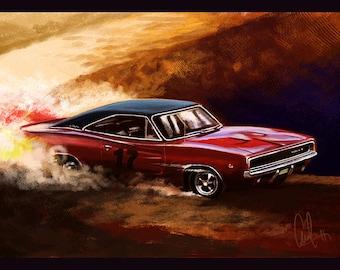 1968 Charger Automotive Art Muscle Car 8x12 Metallic Print