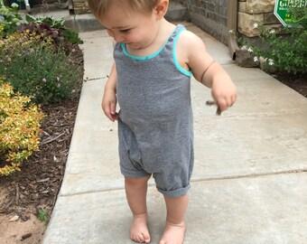 Baby romper - Toddler romper - Baby boy romper - Toddler boy romper - Girl romper - Hipster baby clothes - Shorts romper - Gray romper