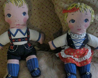 Vintage Cloth Dolls Boy Girl / Twin Dolls / 40s Swiss Rag Dolls / Cut and Sew Dolls