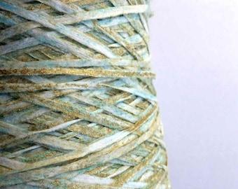 Gold paper yarn · ribbon yarn ·rayon yarn · hand painted yarn · shiny yarn