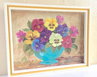 Vintage Framed Original Floral Painting of Flowers Bouquet Pansies White Yellow Purple Pink Painted Frame Nasturtium Cottage Style