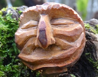 Happy,smiling avocado stone face,hand made,eco friendly/ recycle.