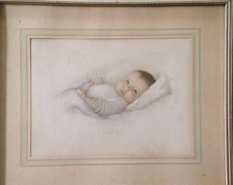 "Vintage ""Heavens Gift"" framed print by Annie Benson Muller"