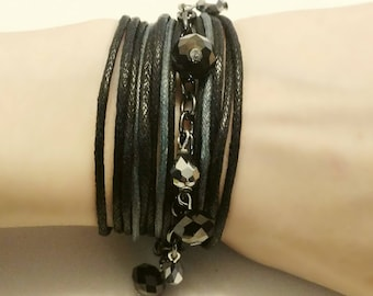 Black & Gray Multi Strand with Gunmetal Chain Metallic Glass Gunmetal and Silver Beads Mock Wrap Style Bracelet