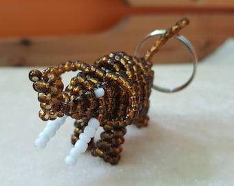 Handmade Beaded Elephant Keyring - Brown