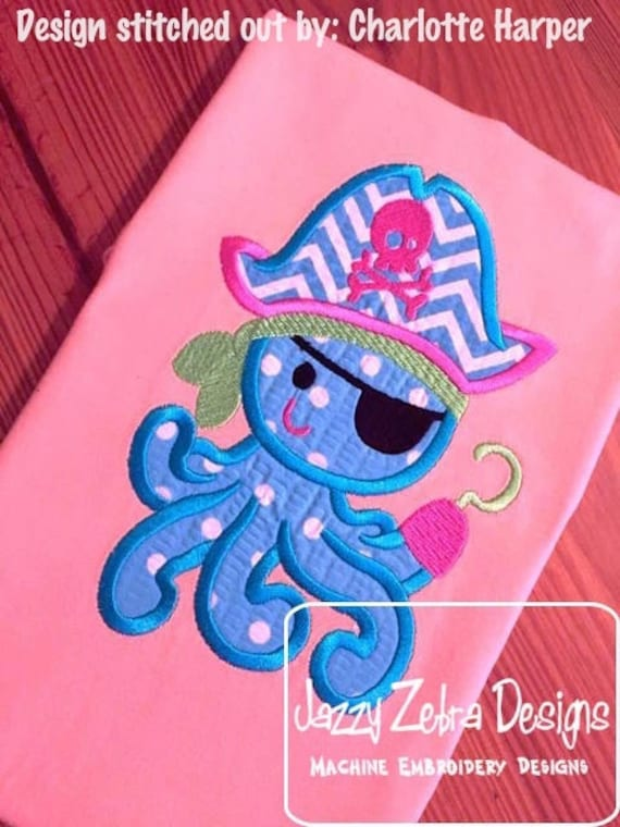 Pirate Octopus Applique Embroidery Design - pirate appliqué design - octopus appliqué design - beach appliqué design - summer appliqué