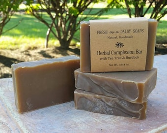 Herbal Complexion Bar with Tea Tree & Burdock, Natural Handmade