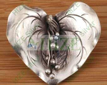 HIZE SF157 Thai Karen Hill Tribe Silver Vine Flower Focal Pendant 37mm