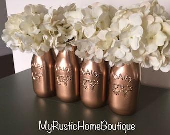 Painted Milk Jar/Farmhouse Decor/Rustic Kitchen Decor/Painted Jars/Farmhouse Kitchen/Country/Farmhouse/Rustic Decor/Painted Milk Jars