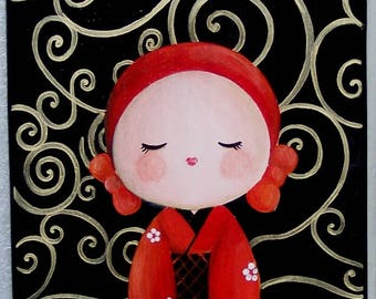 Acrylic painting on wood: kokeshi