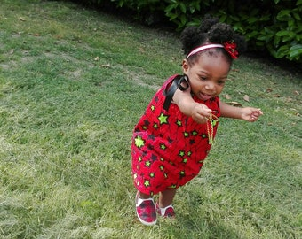 Green Star in Red Baby girls dress, African Prints dress, Pillow case dress, baby shower , for expecting mom, baby girl birthday .