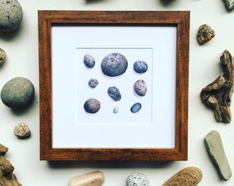 Watercolor Print Lucky Stones 5 x 5- ready to frame