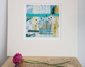Art Print - Floral wall art | Mixed media textiles | Birthday gift | Affordable wall art | Gift under 10 | Gift for her