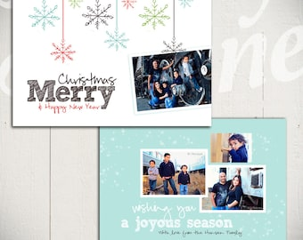 Christmas Card Template: Let It Snow B - 5x7 Holiday Card Template for Photographers