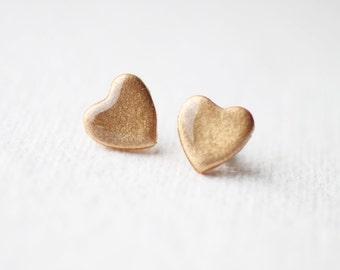 Pale Gold Shimmer Heart Stud Earrings, post earrings BUY 2 GET 1 FREE