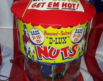 Reserved for Diane. Vintage D-LUX NUTS Vending/Warming Machine in Circus Theme - Lights Up, Keeps Nuts Warm & Circus Scene Rotates.
