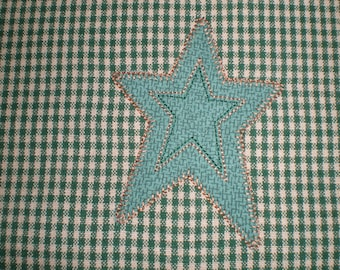Kitchen Towel Appliqued Country Primitive Star Embroidery Kitchen Towel Green Beige Check Pattern