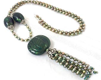 Pearl Tassel Pendant - Big Green Medallion - Green Crystal Pearls - Long Pearl Necklace - Opera Length
