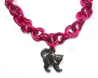 Pink pussy bracelet, Bright pink cat jewelry, Kitty bracelet, Feminist jewelry, Planned Parenthood support jewelry, Pink pussy jewelry