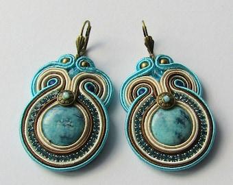 Soutache Earrings Cream - Turquoise