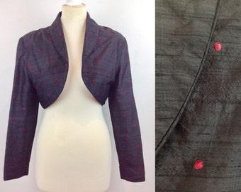 Vintage 80s Black Silk Bolero Jacket, Red Polka Dot Jacket, Evening Shrug, Size 12 UK Medium, Womans Clothing