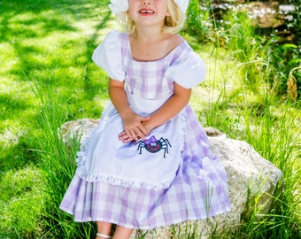 Cute Little Miss Muffett dress and mop cap costume NEW Fairy tale, nursery rhyme, curds & whey, gingham check, purple, spider, story book,