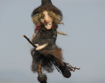 Halloween witch on broomstick needle felted