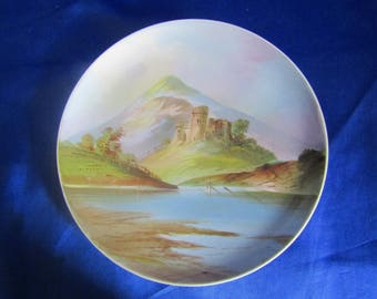 Vintage Nippon Plate with a Hand Painted scene of a Castle on a hill, Mountains and Lake, Decorative Wall-hanging