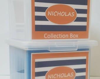 Back to School Organizer, School Keepsake Box, School Work Organizer, School Memory Box, School Paper Storage   - PDF- Orange Blue Stripes
