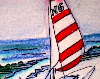 ACEO imprimer voilier sur sable voiles rouges et blancs sur papier épais
