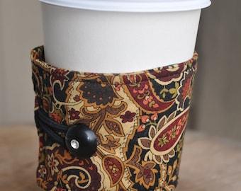 Earth Toned Rust, Tan, Black, Olive and Brown Paisley Print Java or Tea Wrap Around Sleeve/Coffee Cup Cozy/Reusable/Mug Cozy