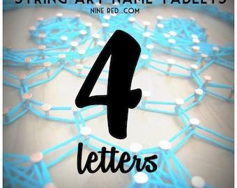 Modern String Art Wooden Tablet - 4 letters