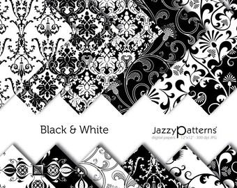 Black & White damask digital paper pack DP036 instant download