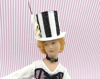 Steampunk top hat black and white stripes in 1:12 scale