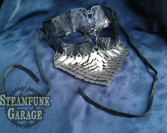 Mask - Titanium Scalemail and laser-cut metal VERY LIGHTWEIGHT!