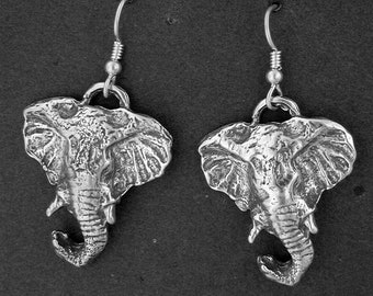 Sterling Silver Elephants Earrings on Heavy Sterling Silver French Wires