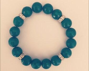 Faceted Jade & Crystal Bracelet