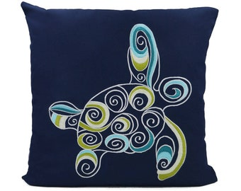 """New Fabric - Sea Turtle - Nautical Embroidered Pillow Cover - Fits 18""""x18"""" Insert - Navy - Beach / Lake / Nursery Decor (READY TO SHIP)"""
