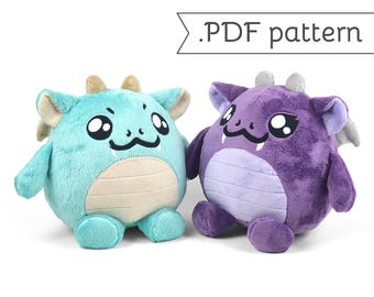 Chubby Dragon Plush Sewing Pattern .pdf Tutorial Monster