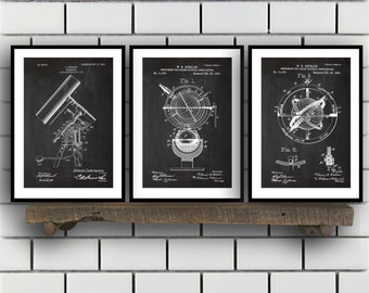 Astronomy Patent, Astronomy poster Set of THREE, astronomy Invention Patent, telescope Poster, Astronomy Print, Sun Dial Inventions