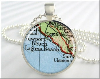 Laguna Beach Map Pendant, Resin Charm, California Beach Map Necklace, Picture Jewelry, Round Silver, Gift Under 20, Travel Gift 716RS