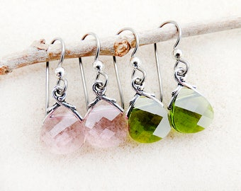 Swarovsky Earrings, Pink, Green, Rose, Olivine, Crystal, Silver, Non-allergenic, Niobium Ear Wires, Handmade, Gift for Her, Gift for Woman
